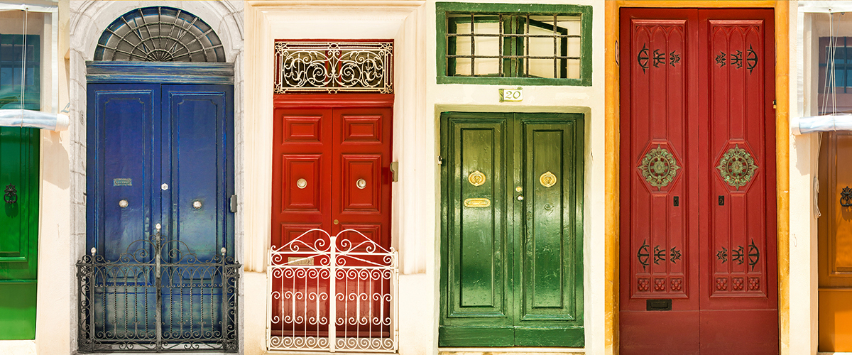 Many colorful doors