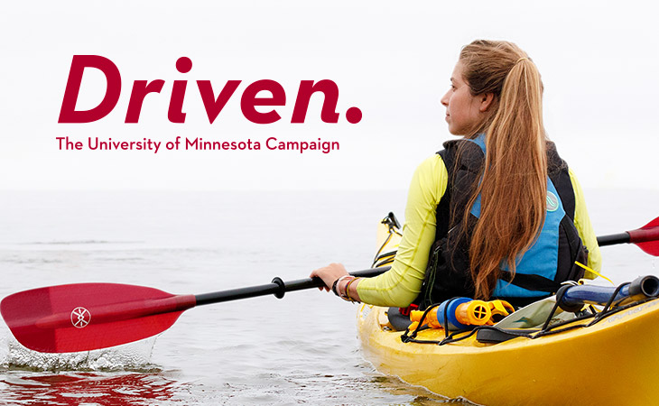 Woman in a kayak, Driven hero image