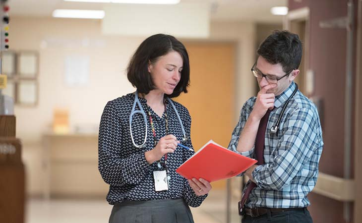 Mentor-mentee pairs like  Kimberly Olson, M.D., and Tim Kummer develop a deep level  of trust and camaraderie over  the course of the 10-month VALUE clerkship experience.