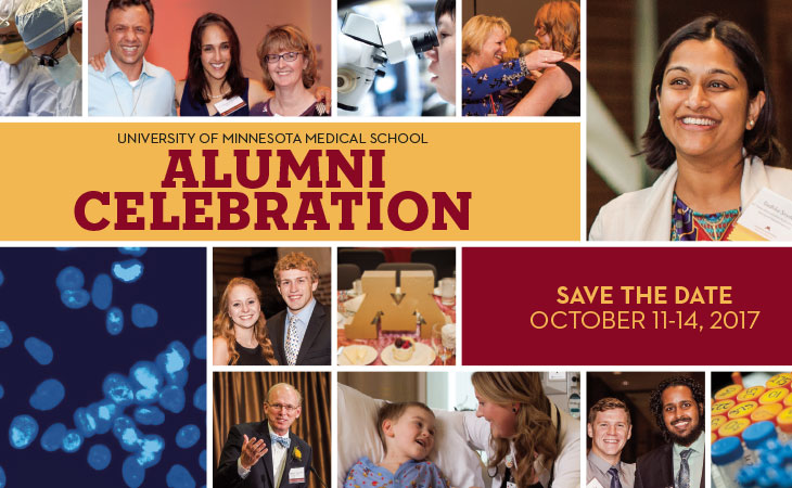 Photo collage of past alumni celebration events
