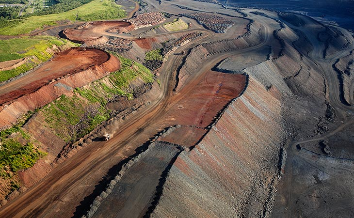 Aerial view of a taconite mine