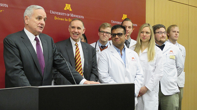 Medical Discovery Team announcement with Governor Dayton