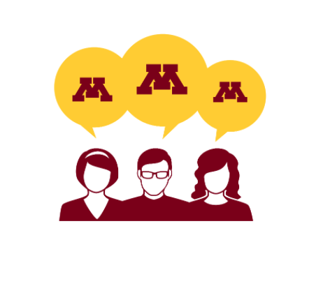 Three animated people with thought bubbles that contain the U of M Block M