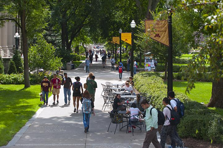University of Minnesota East Bank campus with students walking.