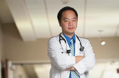 Resident in whitecoat and stethoscope