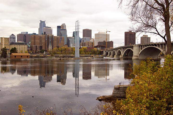 Minneapolis skyline viewed from the Mississippi River.