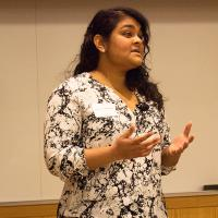 Amritha Yellamilli speaks at the 3-Minute Thesis competition.
